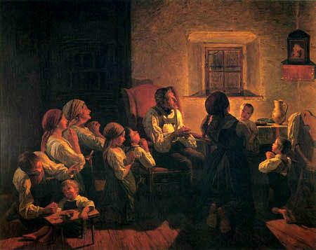 Ferdinand Georg Waldmüller - Abendgebet in einer Bauernstube