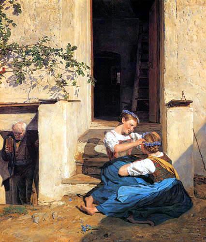 Ferdinand Georg Waldmüller - Kranzbindende Mädchen