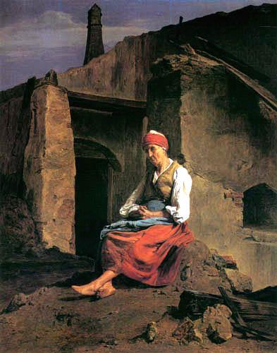 Ferdinand Georg Waldmüller - Sitzende, alte Frau vor einer Ruine
