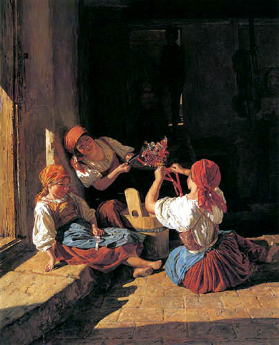 Ferdinand Georg Waldmüller - Kinder schmücken einen Hut