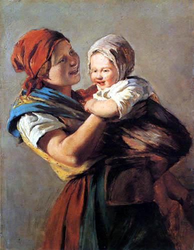 Ferdinand Georg Waldmüller - Junge Mutter mit Kind, Studie