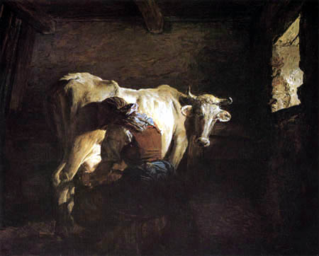 Ferdinand Georg Waldmüller - A farmer wife milking a cow