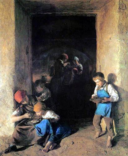 Ferdinand Georg Waldmüller - Kinder erhalten eine Mahlzeit