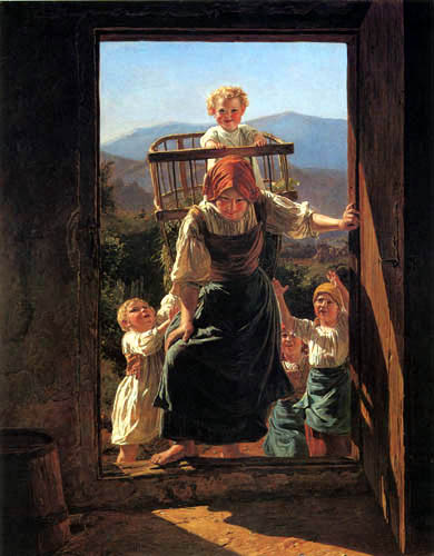 Ferdinand Georg Waldmüller - Heimkehrende Mutter mit Kindern