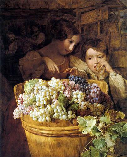 Ferdinand Georg Waldmüller - Kinder bei einer Butte mit Trauben