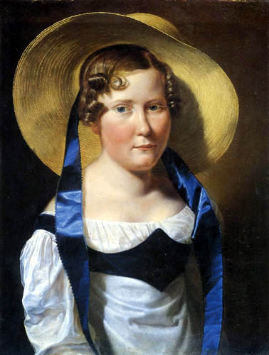 Ferdinand Georg Waldmüller - Girl with straw hat