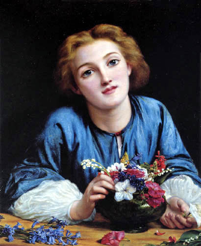 Henry Wallis - Young Girl with Flowers