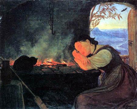 Friedrich Wasmann - A girl at the hearth fire