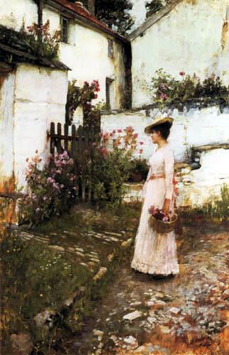 John William Waterhouse - Gathering Flowers in a Devonshire Garden