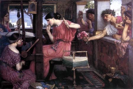 John William Waterhouse - Penelope mit den Brautwerbern