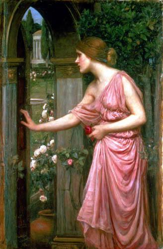 John William Waterhouse - Psique que abre la puerta en el jardín de Cupido