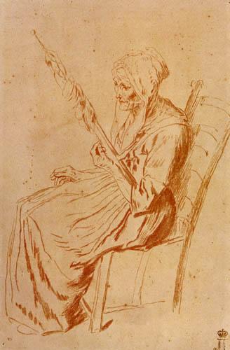 Jean-Antoine Watteau - Studie einer alten Frau