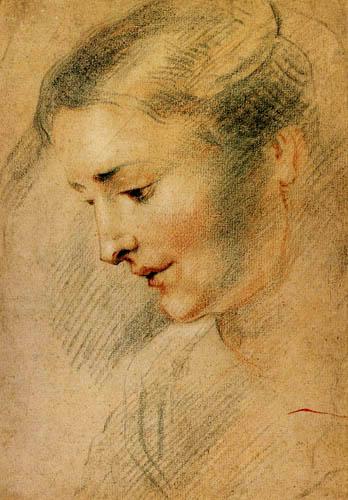 Jean-Antoine Watteau - Head of a young woman