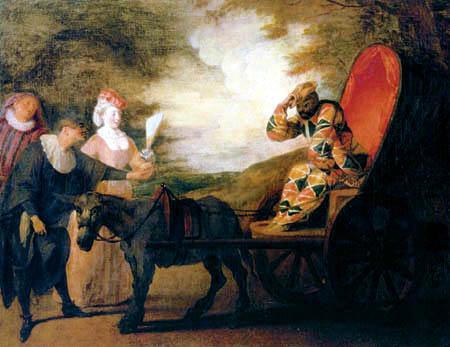 Jean-Antoine Watteau - Kaiser Harlekin im Mond