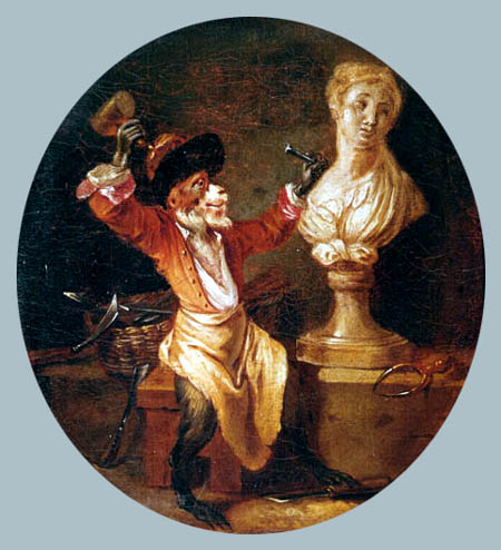 Jean-Antoine Watteau - A monkey as sculptor