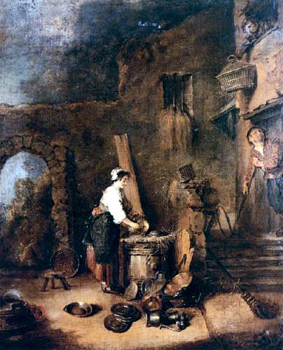 Jean-Antoine Watteau - Kupfer reinigende Frau