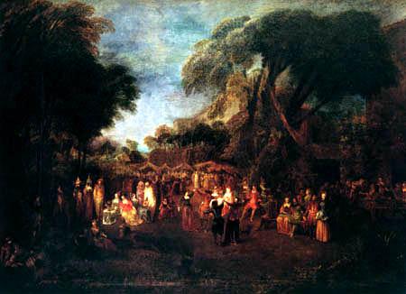 Jean-Antoine Watteau - Jahrmarkt mit Komödiantan