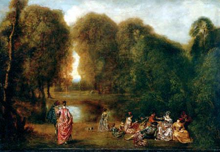 Jean-Antoine Watteau - A party in the park