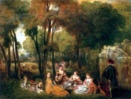 Jean-Antoine Watteau - Outdoor picnic