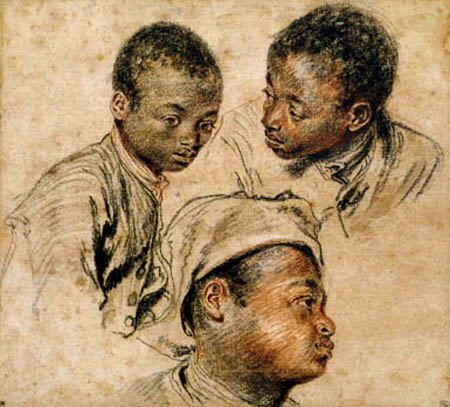 Jean-Antoine Watteau - Kopfstudien eines Farbigen