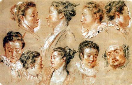 Jean-Antoine Watteau - Studienblatt mit neun Köpfen