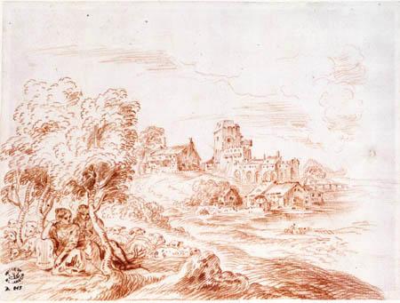 Jean-Antoine Watteau - Unter Bäumen sitzendes Schäferpaar