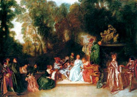 Jean-Antoine Watteau - Gesellschaft im Freien
