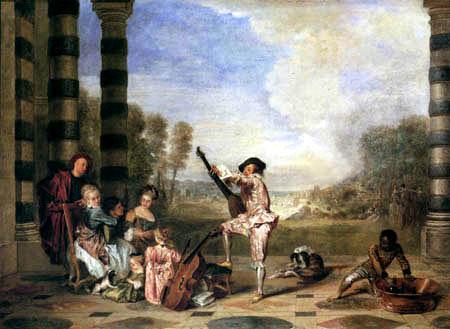 Jean-Antoine Watteau - Musizierende Gesellschaft
