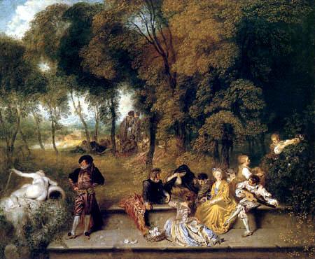 Jean-Antoine Watteau - Gesellige Unterhaltung im Freien