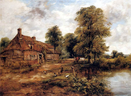 Frederick Waters Watts - A Landscape with a Cottage by a Pond