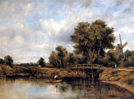 Frederick Waters Watts - River Landscape with Barges and a Windmill