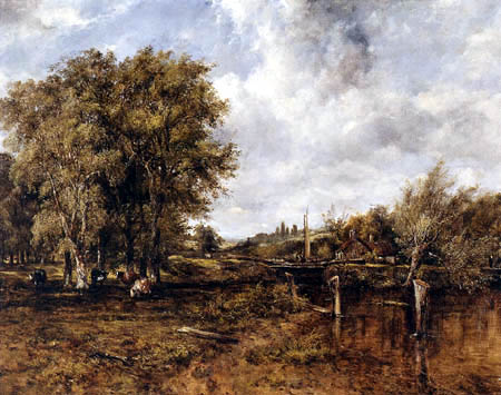Frederick Waters Watts - Wooded Landscape with Cattle and a Cottage beyond