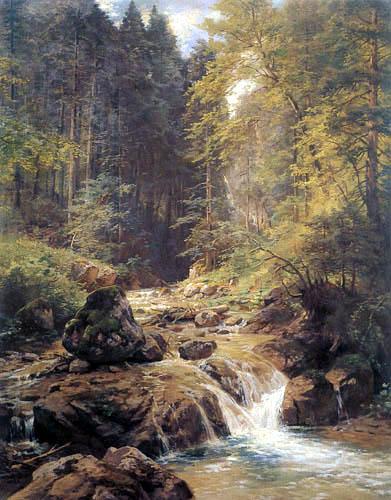 Paul Gottlieb Daniel Weber - Bachlandschaft im Wald