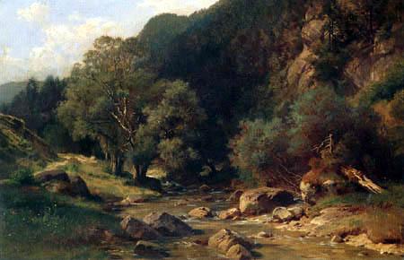 Paul Gottlieb Daniel Weber - Brook landscape in a forest