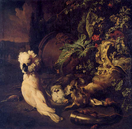 Jan Weenix - A Still Life of Game with a cockatoo