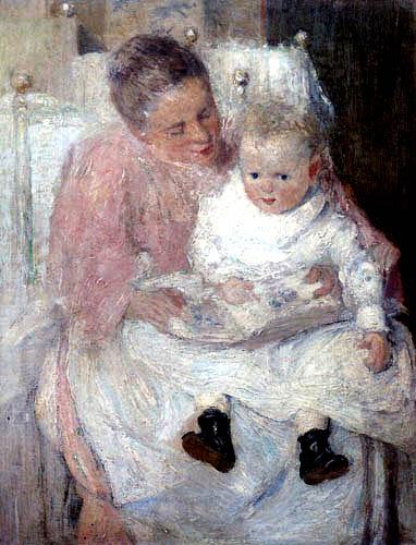 Julian Alden Weir - Mother and child