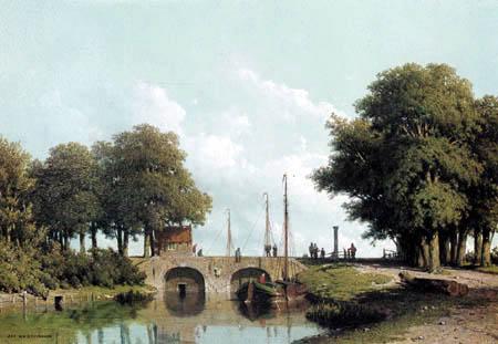 Jan Weissenbruch - Landscape with sluice