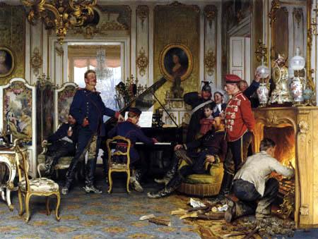Anton von Werner - A Billet outside Paris
