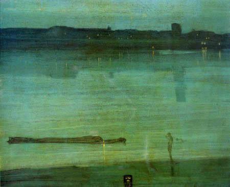 James Abbott McNeill Whistler - Nachts in Chelsea, Harmonie in Blau und Grün