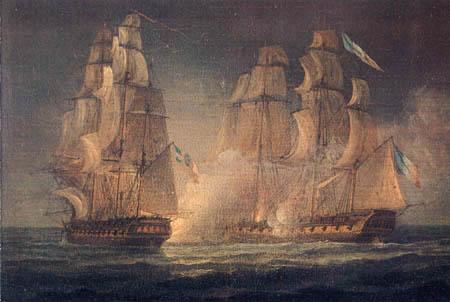 Thomas Whitcombe - Gefecht zweier Fregatten