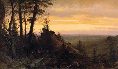 Worthington Thomas Whittredge - Crepúsculo en las montañas de Shawangunk