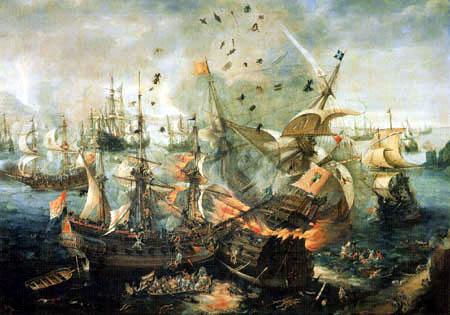 Cornelis Claesz van Wieringen - The explosion of a Spanish admiral ship