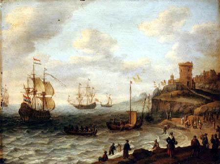 Abraham Willarts - A coastal landscape with shipping and fishermen
