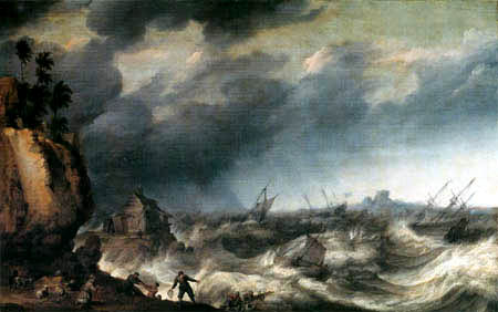 Adam Willarts - Naval storm with shipwreck