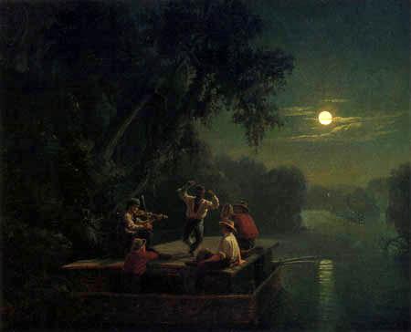 Carl Ferdinand Wimar - Prahmschiffer auf dem Mississippi