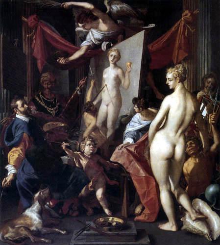 Joos van Winghe - Apelles paints Campaspe