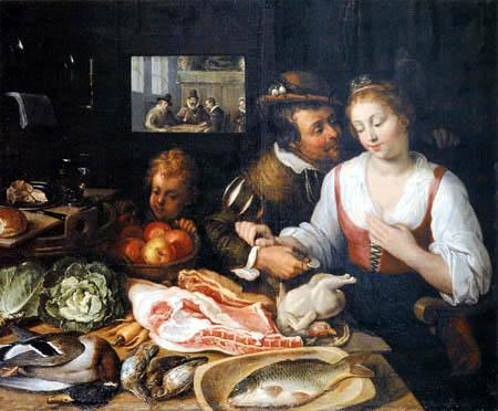 Joos van Winghe - Scene of kitchen