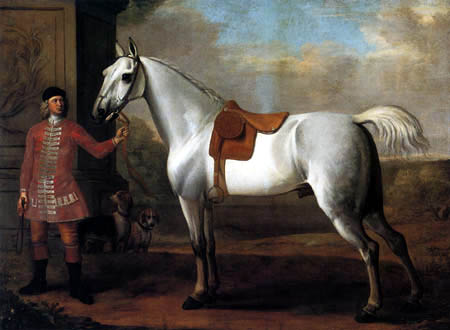 John Wootton - A Grey Stallion Held by a Groom