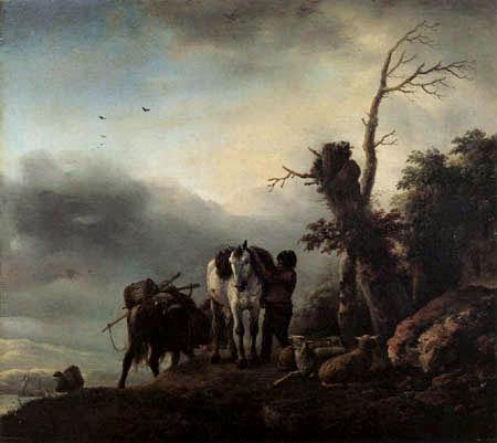 Philips Wouwermann - Landschaft mit Packpferden