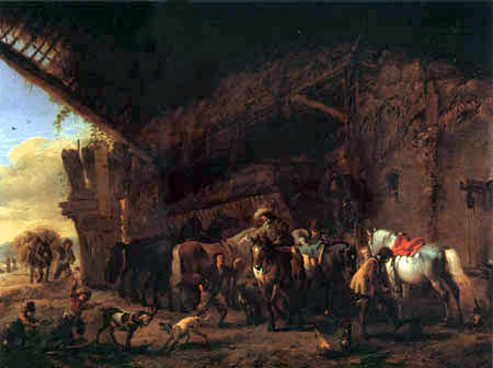 Philips Wouwermann - Exit of the inn